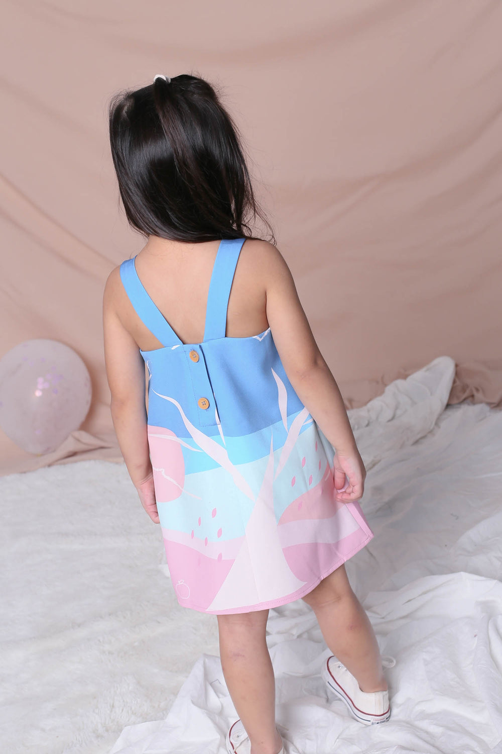 *LITTLE TOPAZETTE* APPLE OF MY EYE V BACK TRAPEZE DRESS IN PINK
