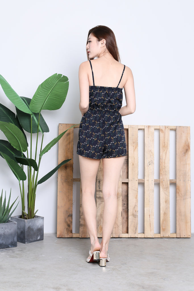 ALICIA FLORAL ROMPER IN NAVY
