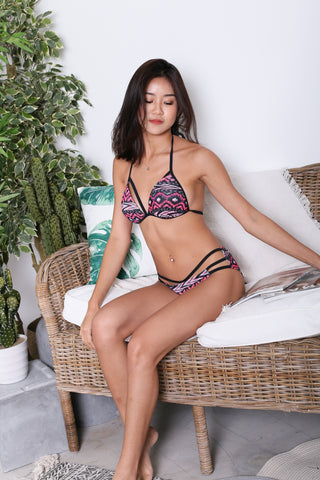 BOARDWALK STRAPPY BIKINI SET (PINK AZTEC)