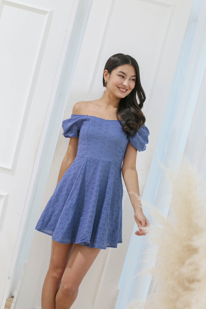 *TPZ* (PREMIUM) ELAYNA EYELET SWEETHEART DRESS IN CORNFLOWER BLUE