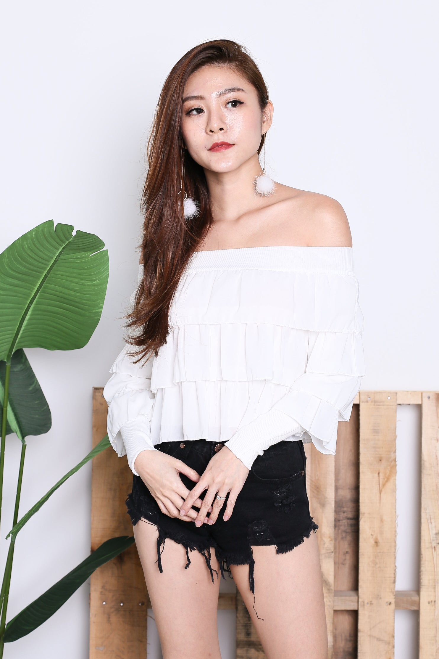 CELESTINA RUFFLED OFF SHOULDER TOP IN WHITE