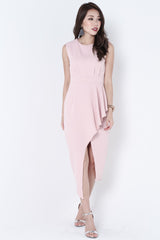 *TOPAZ* (PREMIUM) ALTAIR ASYMMETRICAL DRESS IN DUSTY PINK - TOPAZETTE