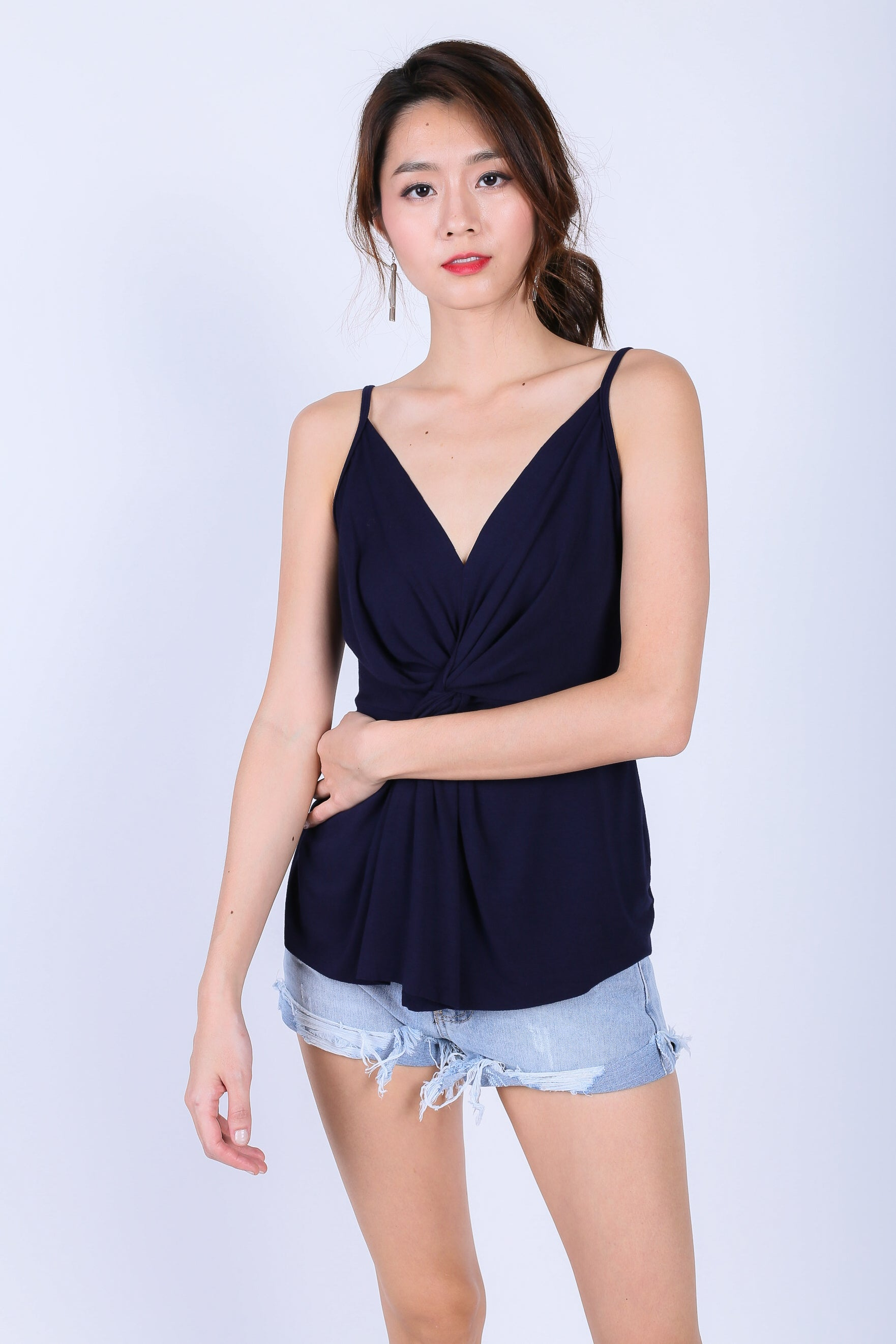 *RESTOCKED* MIA TWISTED SPAG TOP IN NAVY