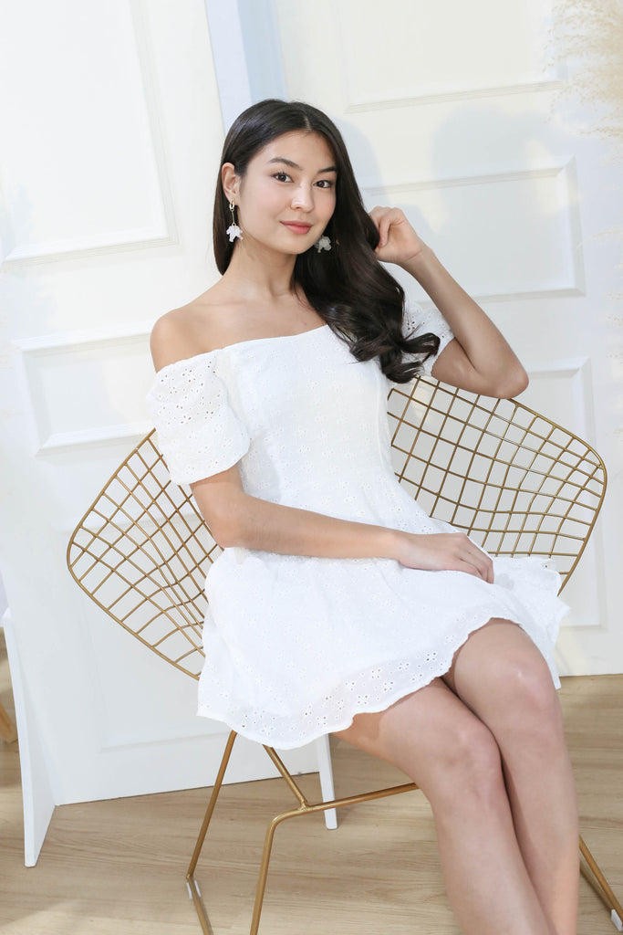 *TPZ* (PREMIUM) ELAYNA EYELET SWEETHEART DRESS IN WHITE