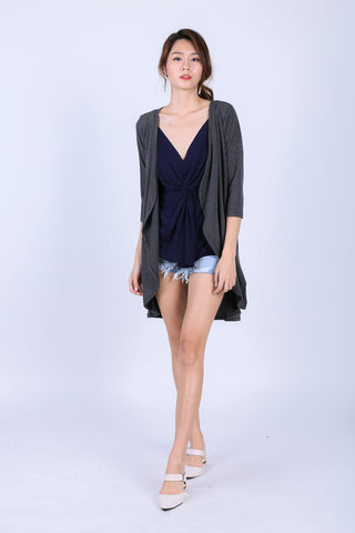 *RESTOCKED* EVERYDAY COTTON LONGLINE CARDIGAN IN DARK GREY