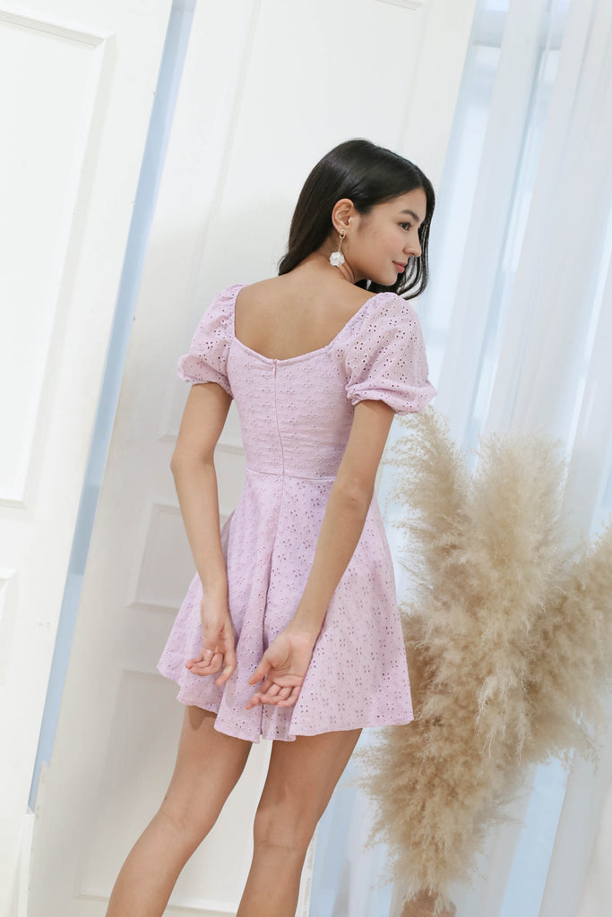 *TPZ* (PREMIUM) ELAYNA EYELET SWEETHEART DRESS IN LILAC