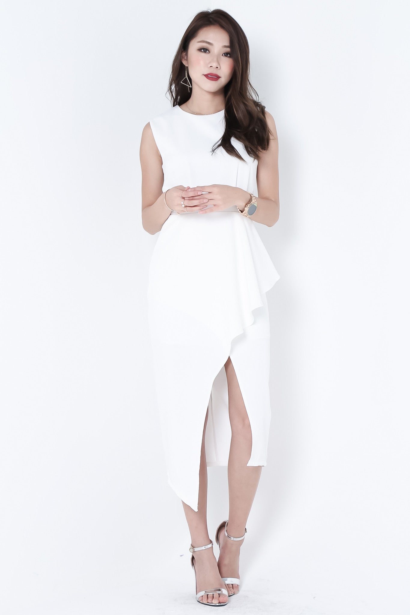 *TOPAZ* (PREMIUM) ALTAIR ASYMMETRICAL DRESS IN WHITE - TOPAZETTE