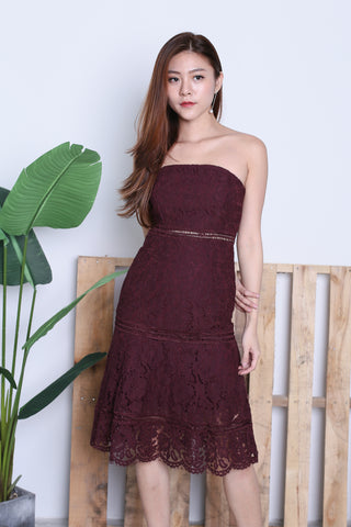 TOPAZ *PREMIUM* MIA LACE MIDI DRESS IN PLUM
