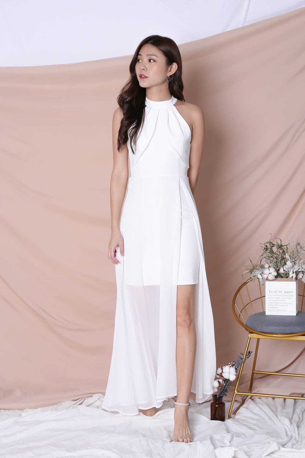 *TPZ* (PREMIUM) HALYN HALTER MAXI IN WHITE
