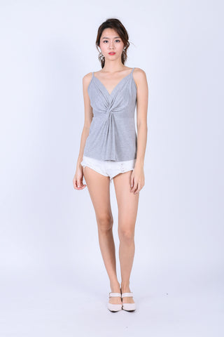 MIA TWISTED SPAG TOP IN LIGHT GREY