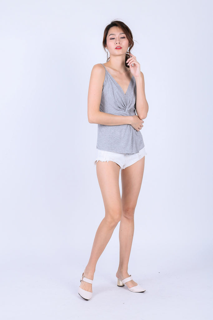 MIA TWISTED SPAG TOP IN LIGHT GREY - TOPAZETTE