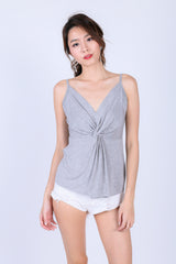 *BACKORDER* MIA TWISTED SPAG TOP IN LIGHT GREY