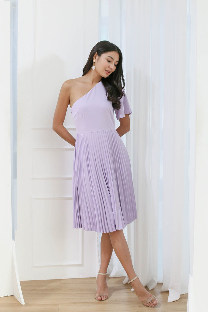 *TPZ* (PREMIUM) SELENE PLEATED TOGA DRESS IN LILAC