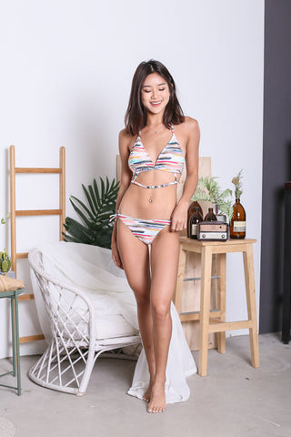 SUMMER TIMES BIKINI SET (BRUSH STROKES STRIPES)