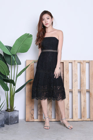 TOPAZ *PREMIUM* MIA LACE MIDI DRESS IN BLACK