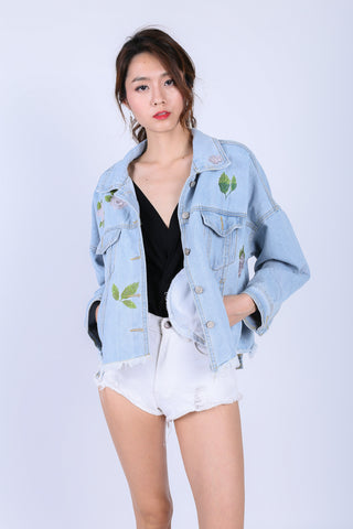 *PREMIUM* AMIA FLORAL FRAYED DENIM JACKET