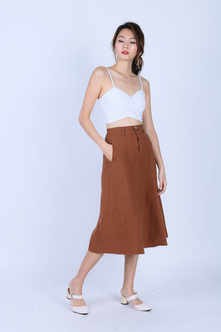SHREYA MIDI SKIRT IN CAMEL