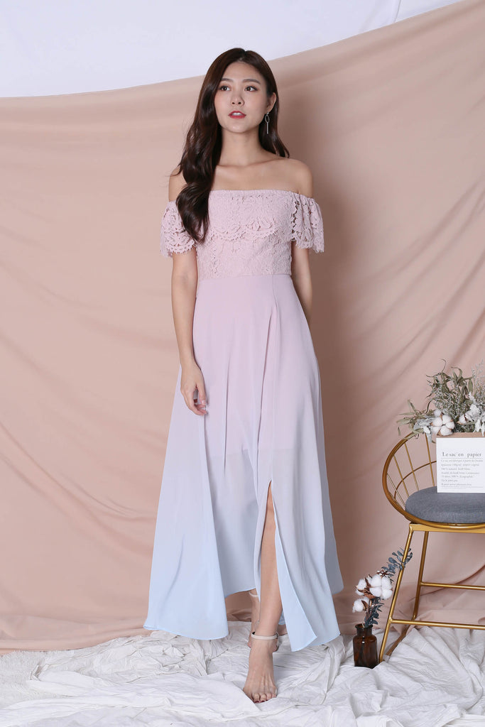 *TPZ* (PREMIUM) AIMEE LACE OMBRE MAXI (DUSTY PINK/ BLUE)