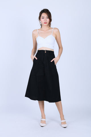 *BACKORDER* SHREYA MIDI SKIRT IN BLACK