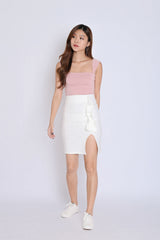 RUFFLES BODYCON SKIRT IN WHITE