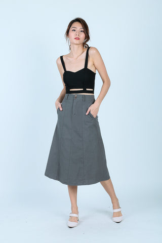 SHREYA MIDI SKIRT IN GREENISH GREY