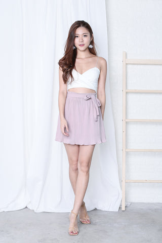 MEL PLEATED SKORTS IN DUSTY PINK