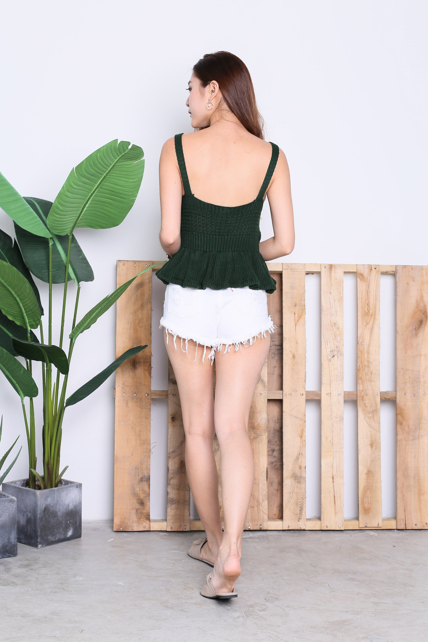 GLACIER KNIT BABYDOLL TOP IN FOREST