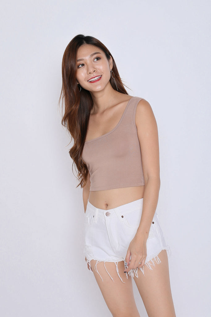 BASIC TOGA SQUARE CROP TOP IN TAUPE - TOPAZETTE
