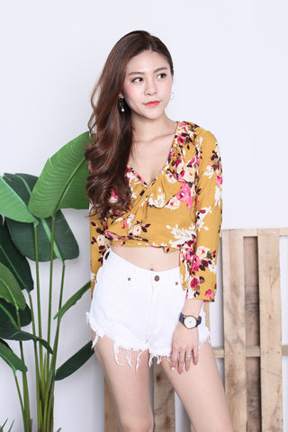RAINE FLORAL WRAP TOP IN MUSTARD