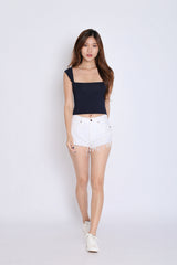 BASIC SQUARE SPAG CROP TOP IN NAVY