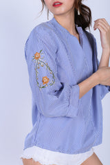 EMBROIDERY KOREAN SHIRT IN BLUE STRIPES