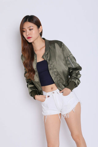SATIN BOMBER JACKET IN ARMY GREEN