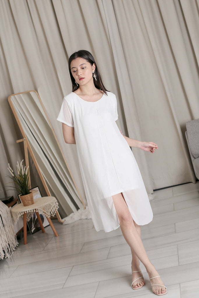 VIV CHIFFON SLEEVED DRESS IN WHITE