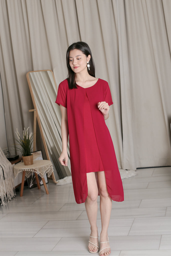 VIV CHIFFON SLEEVED DRESS IN WINE
