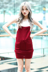 (RESTOCKED) CLASSIC KNIT DUNGAREE DRESS IN WINE - TOPAZETTE