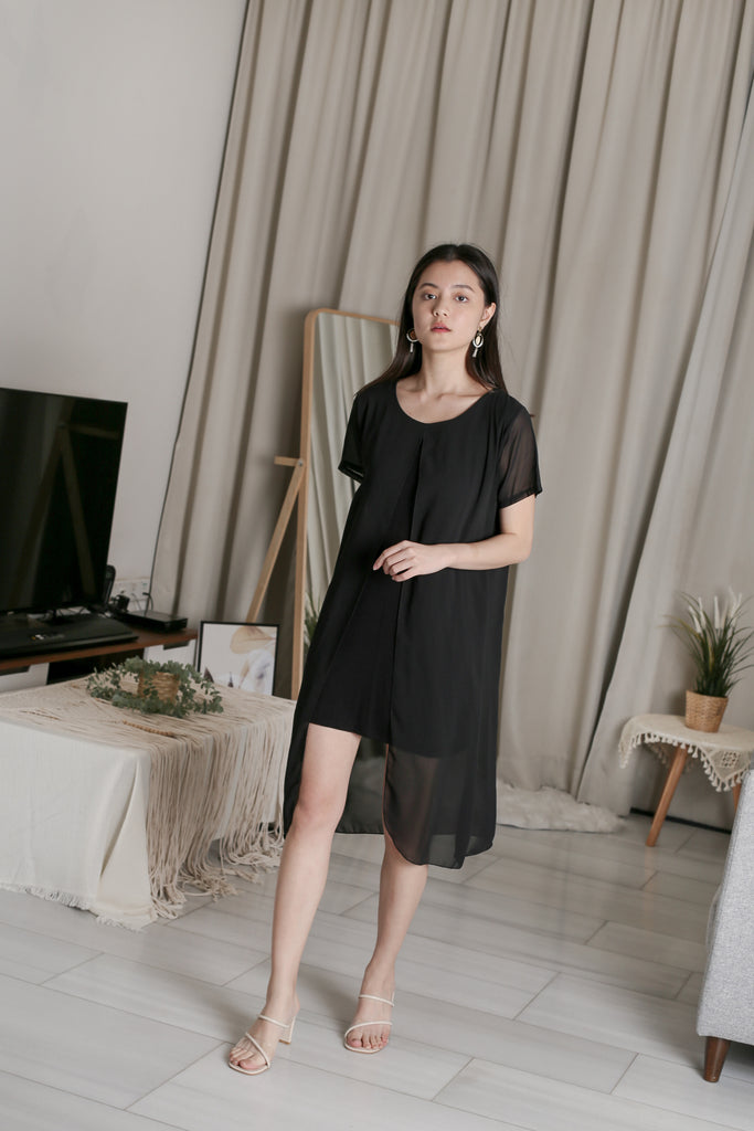 VIV CHIFFON SLEEVED DRESS IN BLACK