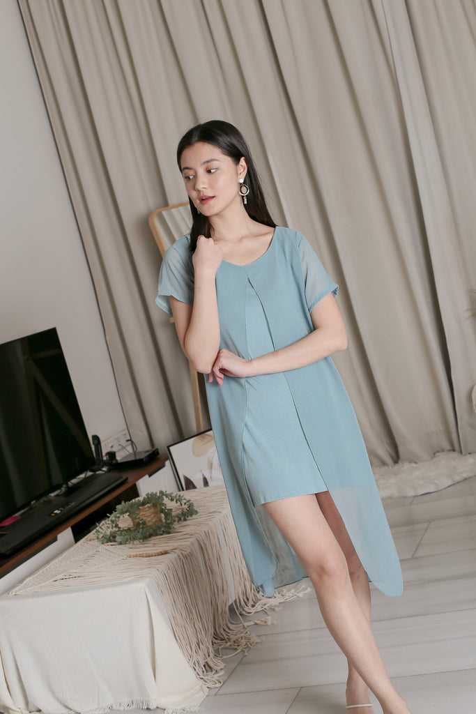 VIV CHIFFON SLEEVED DRESS IN DUSTY CYAN