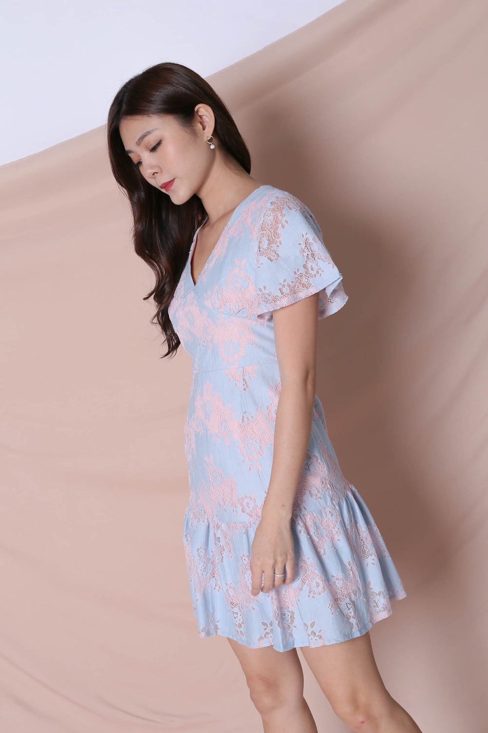 *TPZ* (PREMIUM) YVERE TWO TONE LACE DRESS IN PASTEL PINK/ BLUE