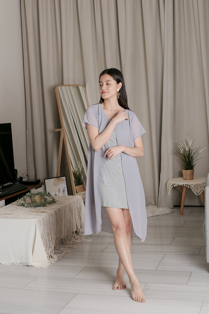 VIV CHIFFON SLEEVED DRESS IN GREY