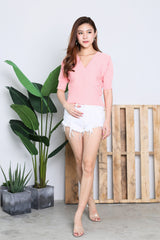 GLENDA V KNIT TOP IN BABY PINK