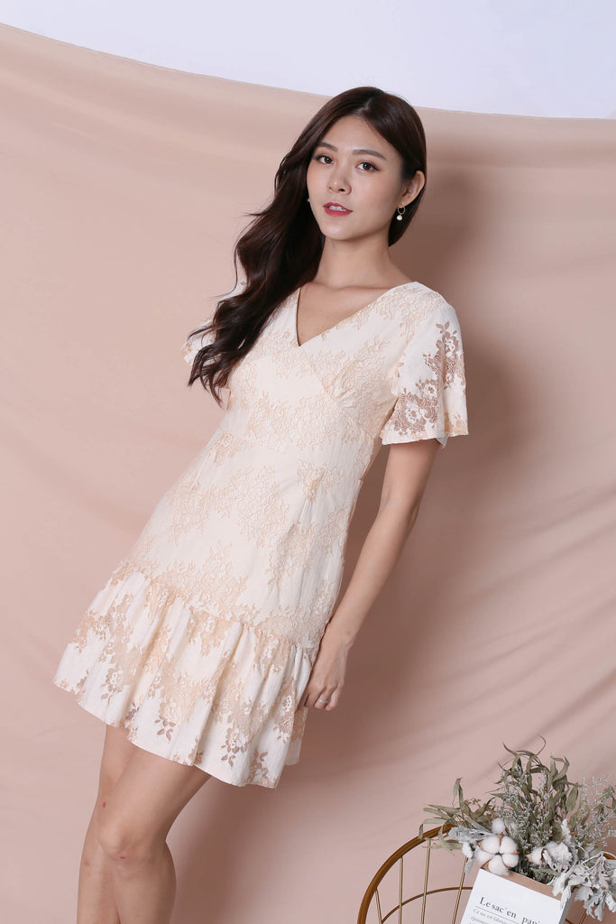 *TPZ* (PREMIUM) YVERE TWO TONE LACE DRESS IN IVORY