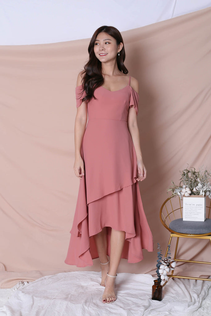 *TPZ* (PREMIUM) RENISE DRAPE TIER DRESS IN CORAL PINK