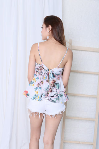 MIA FLORAL RIBBON BACK TOP IN WHITE