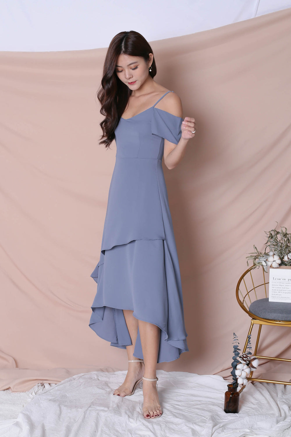 *TPZ* (PREMIUM) RENISE DRAPE TIER DRESS IN STALE BLUE