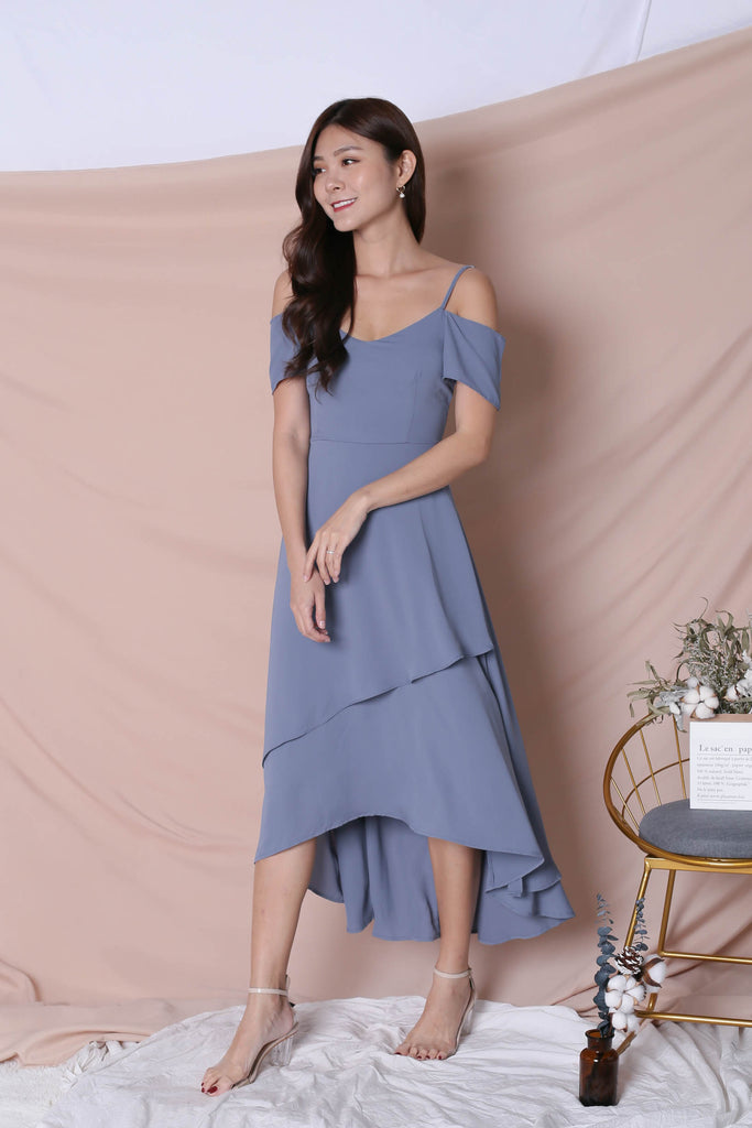 *TPZ* (PREMIUM) RENISE DRAPE TIER DRESS IN STALE BLUE - TOPAZETTE