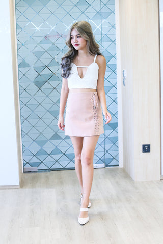 SUEDE LACED UP SKIRT IN DUSTY PINK