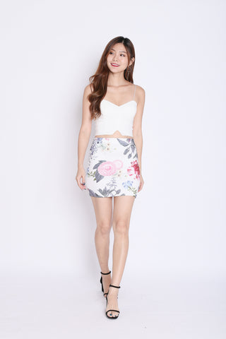 FLORAL BODYCON SKIRT (WHITE TROPICS)