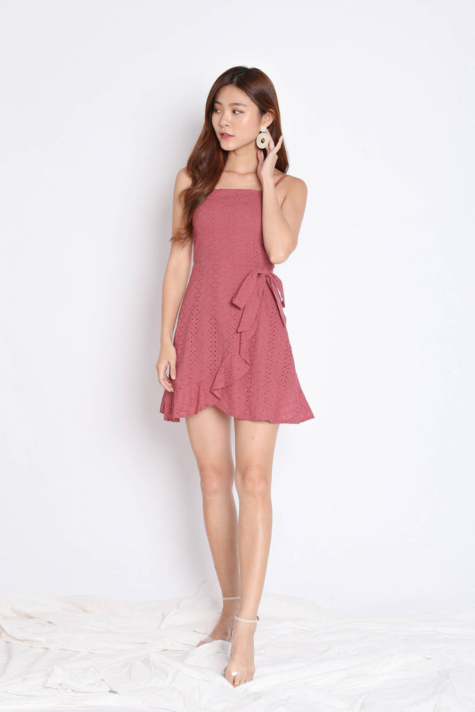 (PREMIUM) MAZEL EYELET WRAP DRESS IN PINK - TOPAZETTE