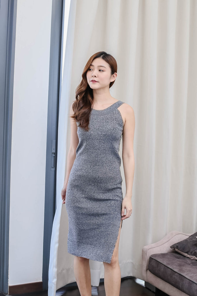 HIDEKO KNIT DRESS IN ASH GREY