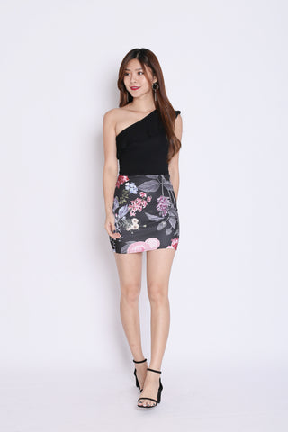 FLORAL BODYCON SKIRT (BLACK TROPICS)